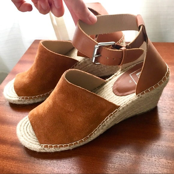 f8d4eea4994 Gap Brown Leather Rope Espadrille Wedge Ankle Stra